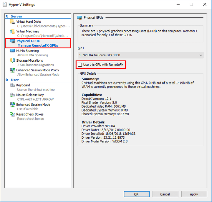 Hyper-V Settings updated